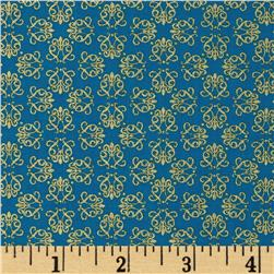 Timeless Treasures Palazzo Metallic Small Geo Turquoise