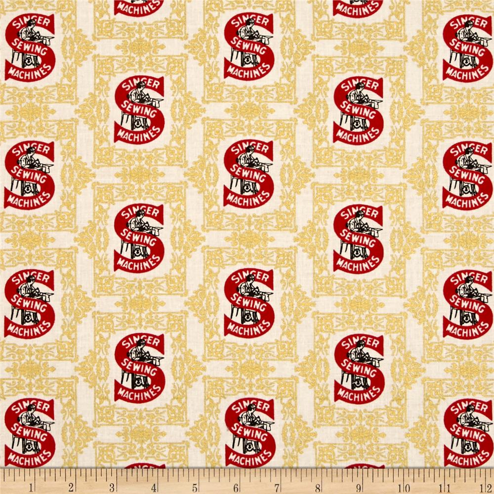 Kaufman sewing with singer metallic logo red discount for Cheap sewing fabric