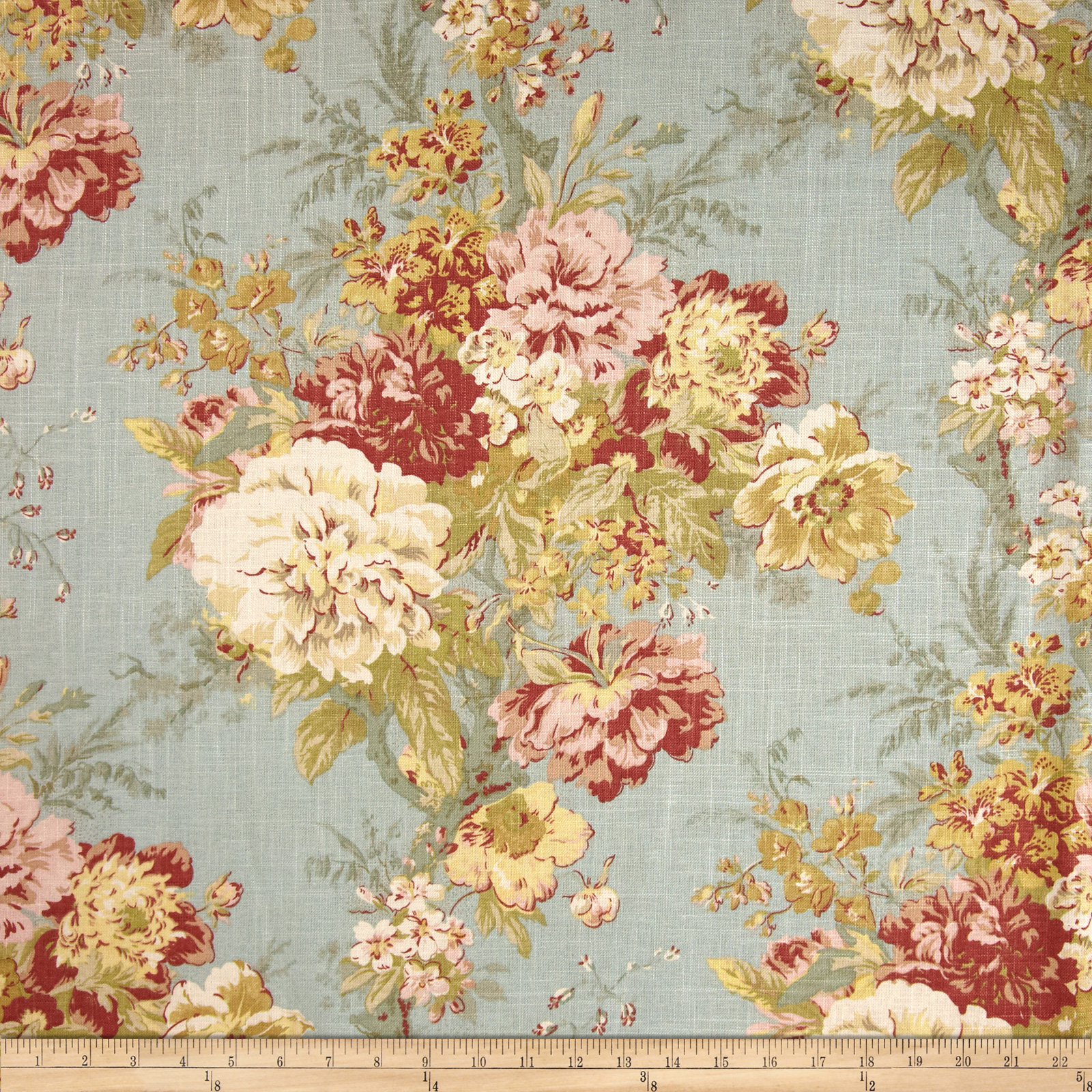 Waverly Ballad Bouquet Blend Robins Egg Fabric