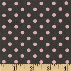Michael Miller Dumb Dot Bloom Grey/Pink Fabric