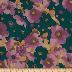 Maribel Voile Floral Teal
