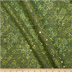 Temptation Embossed Metallic Knit w/ Hologram Sequin Lime