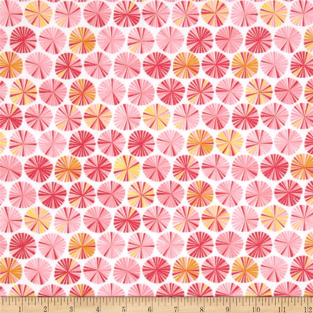 Riley Blake Fancy Free Flannel Pinwheels Pink