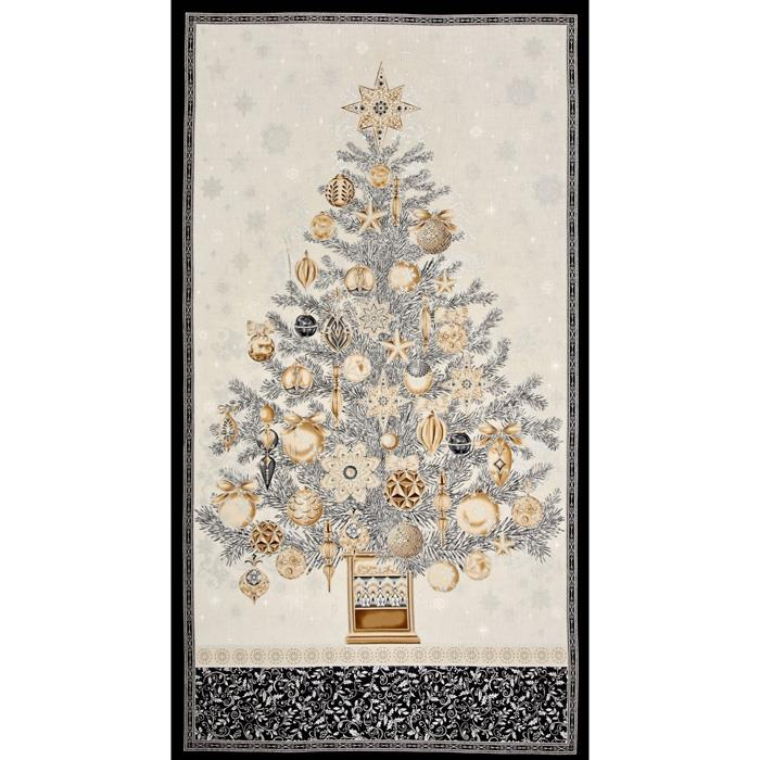 Kaufman Winters Grandeur Metallic 24 In. Tree Panel Winter