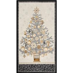 Robert Kaufman Winters Grandeur Metallic 24 In. Tree Panel Winter