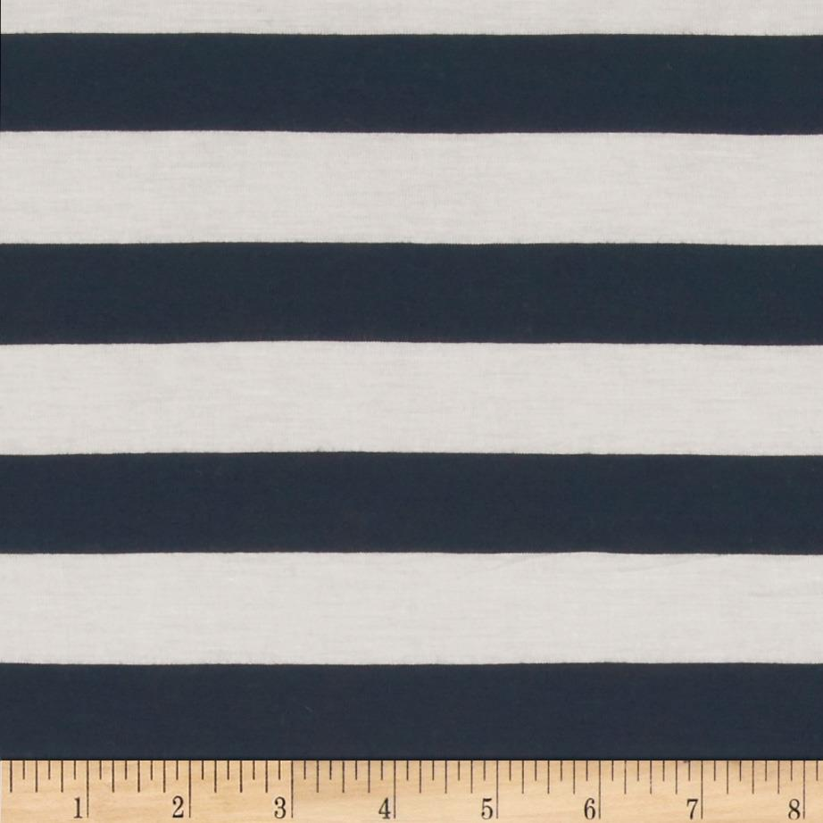 Designer Stripe Jersey Knit Navy/White