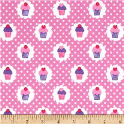 Michael Miller Flannels It's A Girl Thing Mini Cupcakes Peony