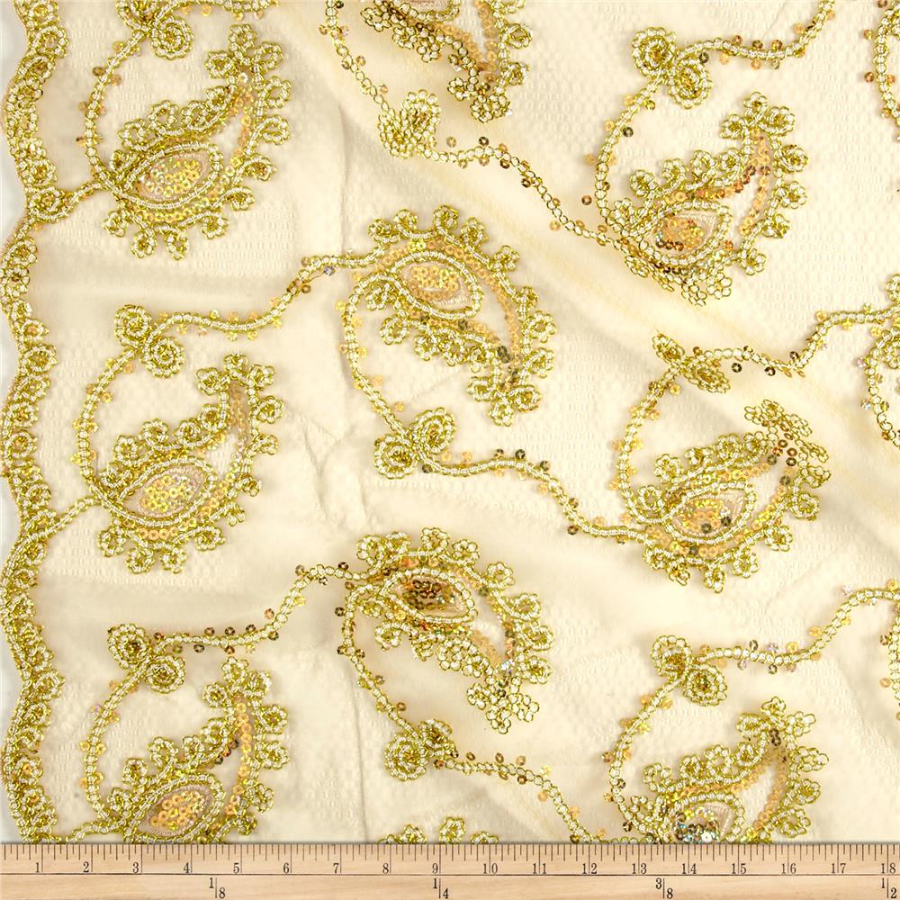 Coco Paisley Sequin Lace Gold