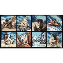 North American Wildlife 3 Block Panel 24 In. Horses Nature