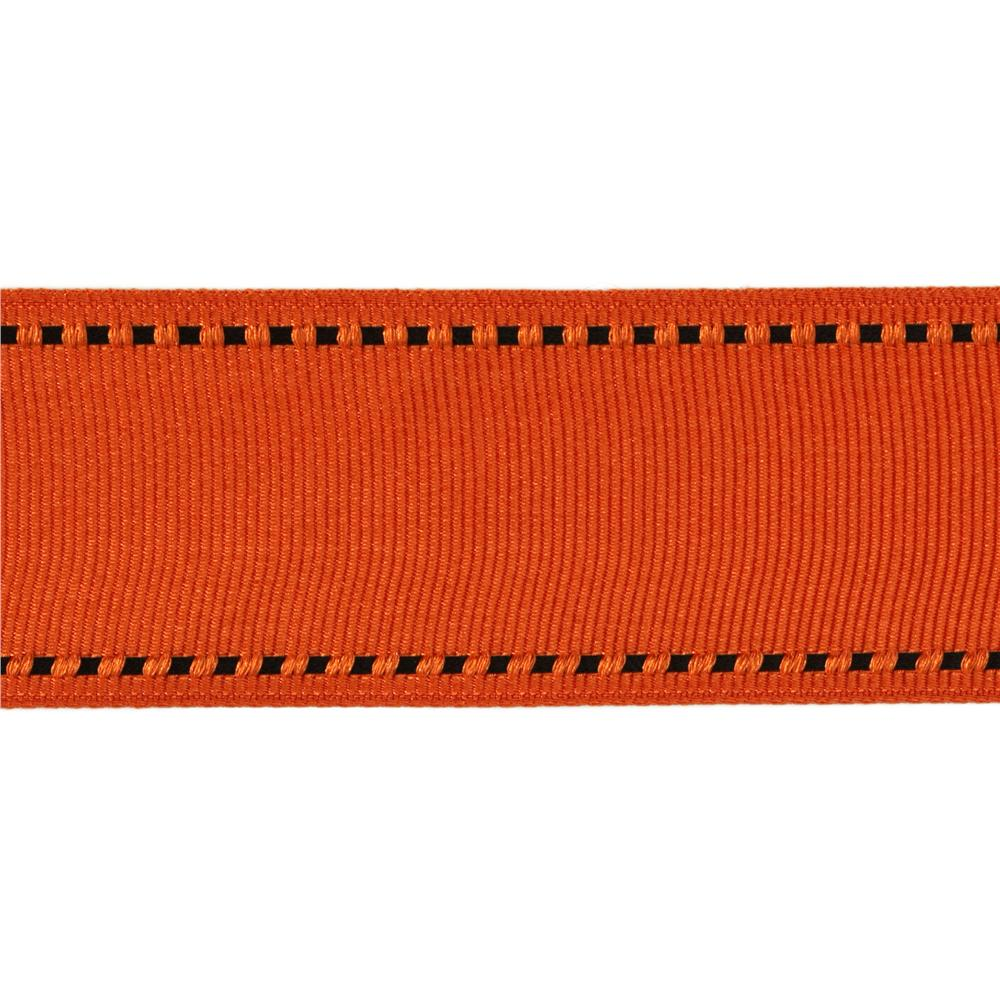 1 1/2'' Grosgrain Ribbon Saddle Stitch Orange/Black