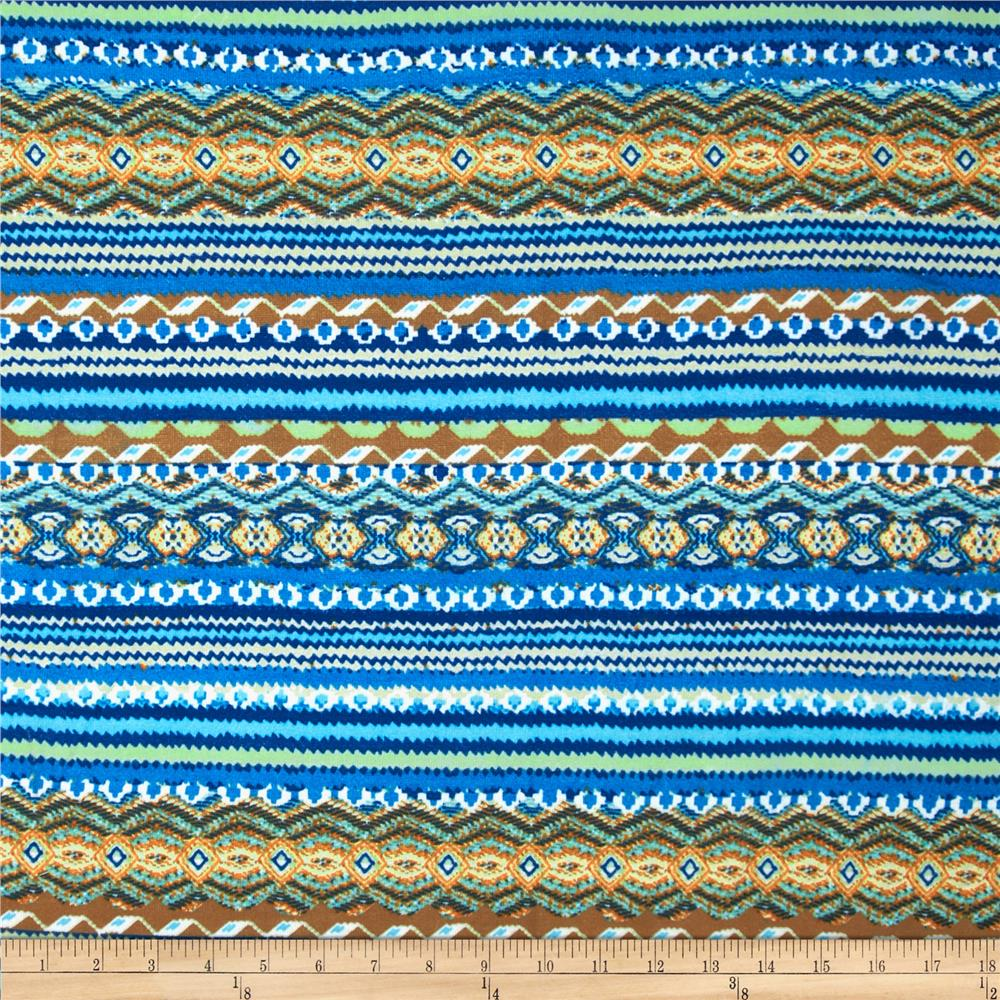 Viva Hatchi Sweater Knit Abstract Aztec Blue