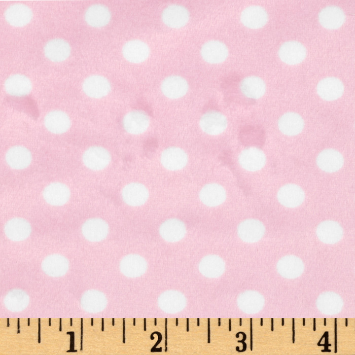 Minky Polka Dots Small Light Pink Fabric