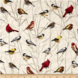 Timeless Treasures Mountain Getaway Cabin Birds on Branches Cream
