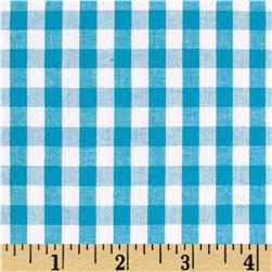 Cotton Gingham Turquoise/White