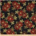 Good Tidings Paisley Poinsettia Black/Gold