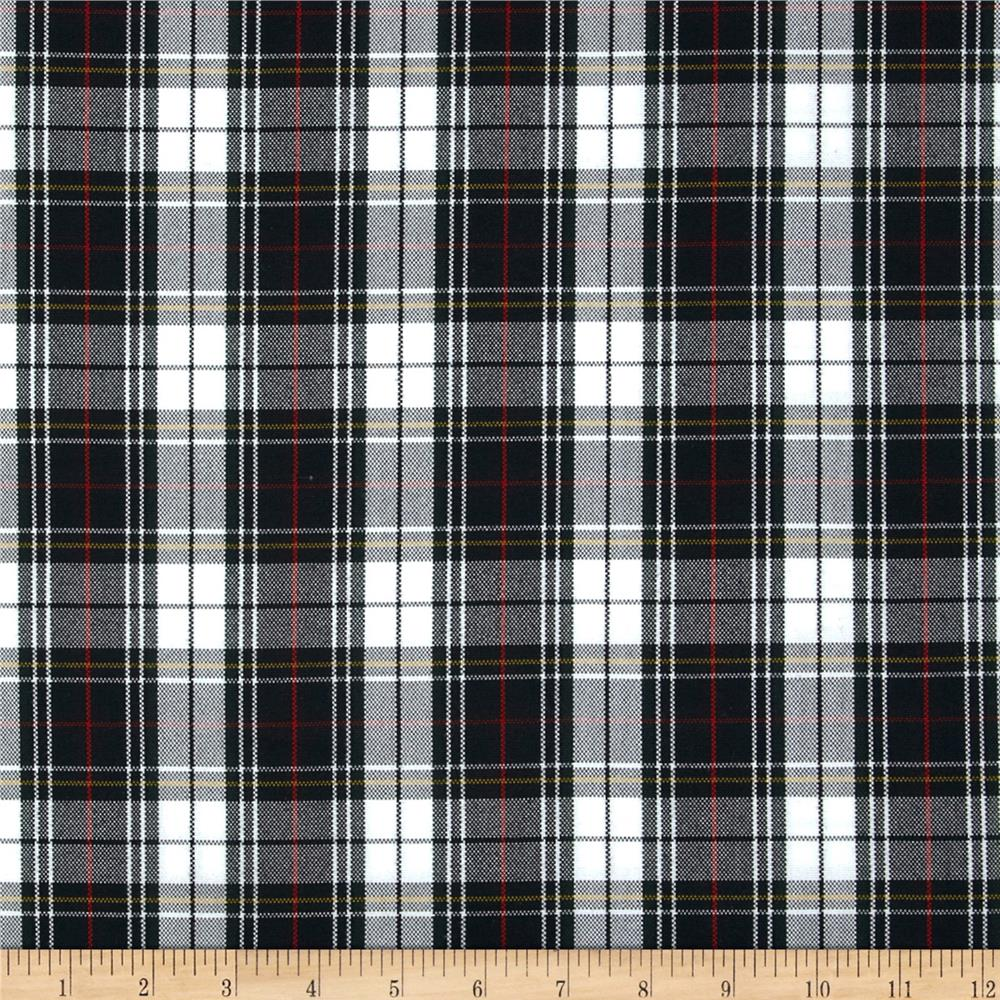 Polyester Uniform Plaid Blackwhitered Poplin Discount Designer