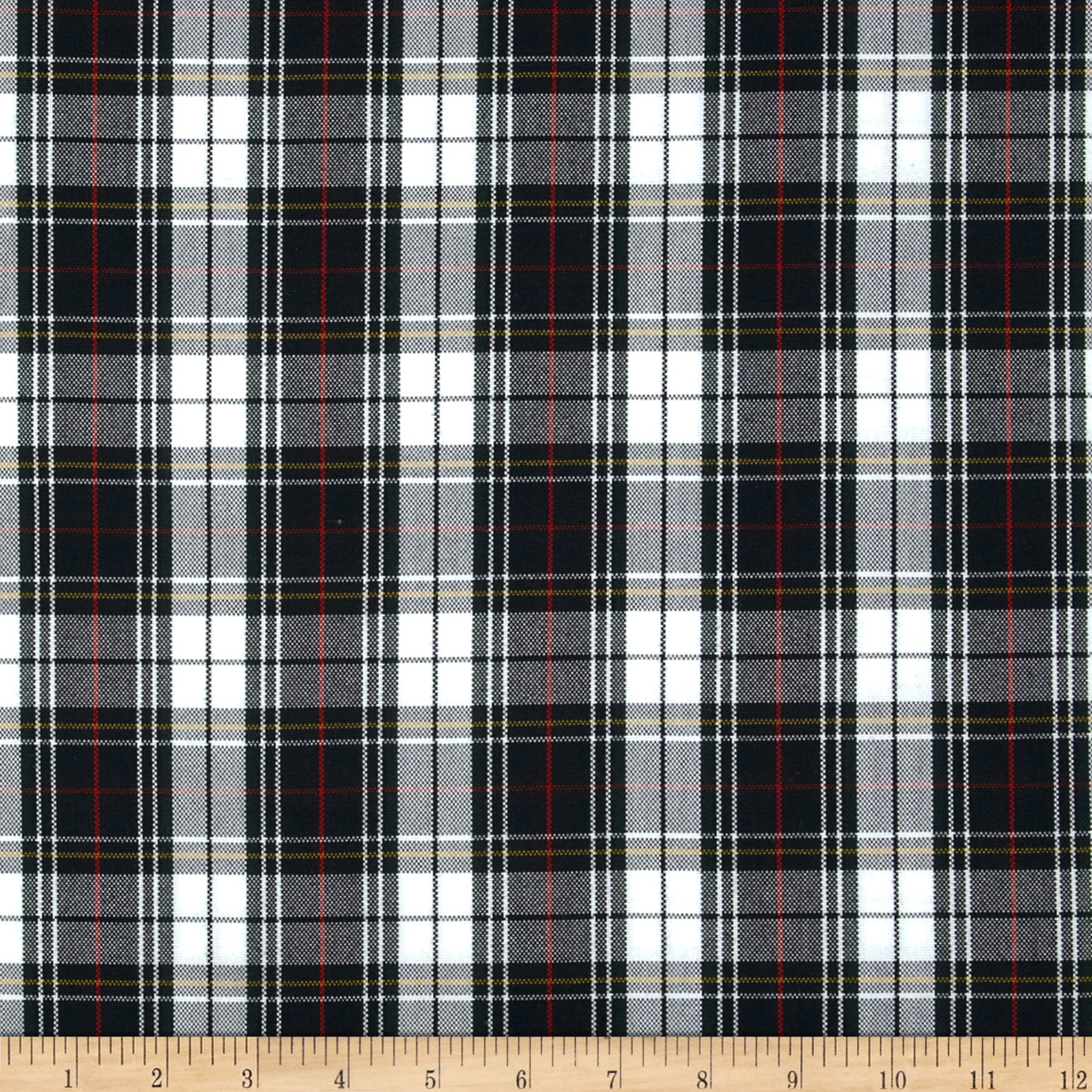 Polyester Uniform Plaid Black/White/Red Fabric by Carr in USA