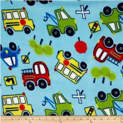 Fleece Tossed Cars Aqua Fabric
