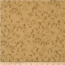 "110"" Wide Quilt Back Filigree Tan/Brown"