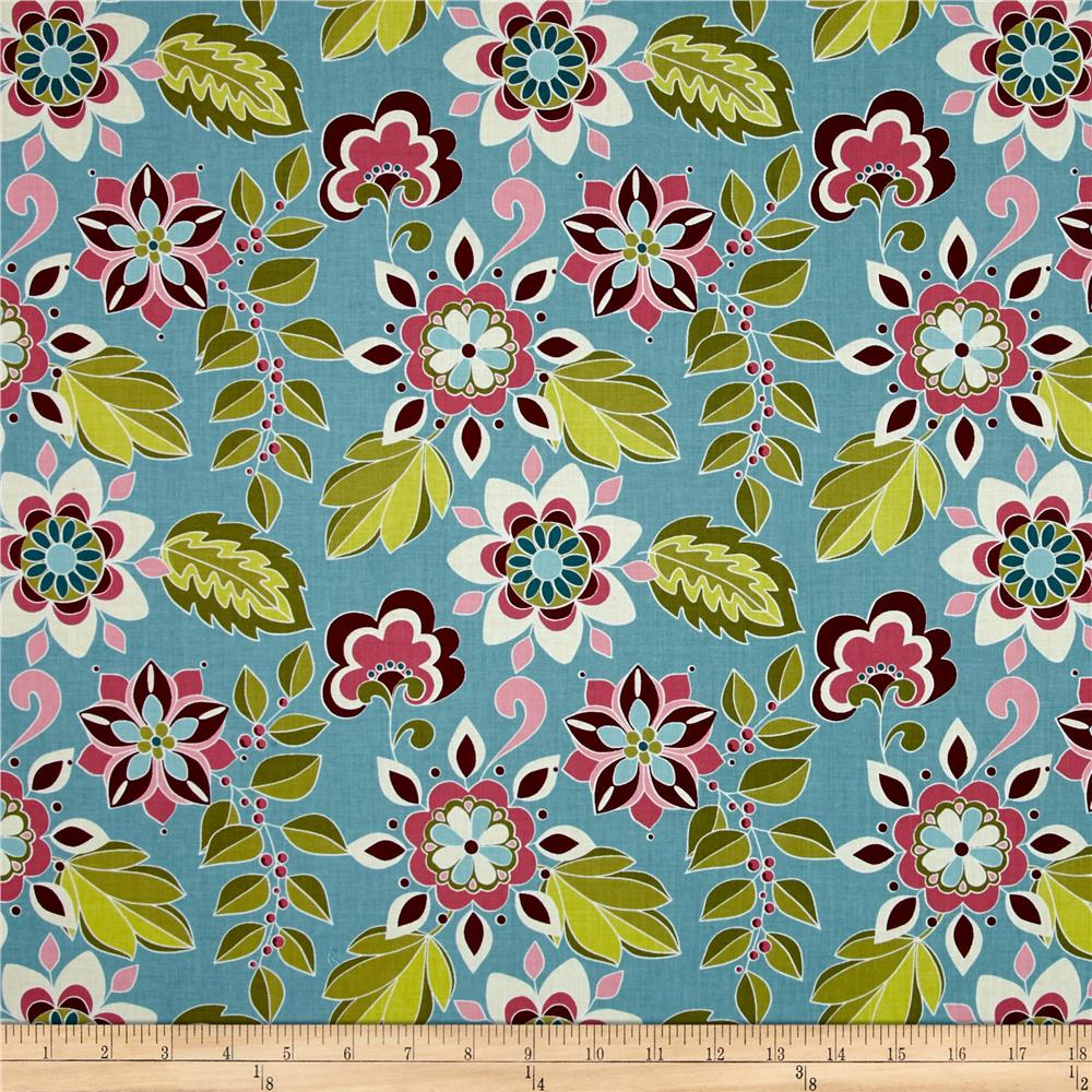 Riley Blake Botanique Flowers Teal
