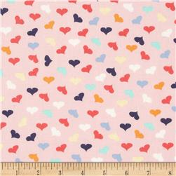 Dear Stella French Lessons Tossed Hearts Pink Fabric