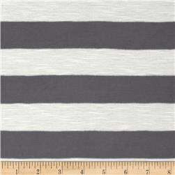 Yarn Dyed Jersey Knit Stripes Grey/Off White