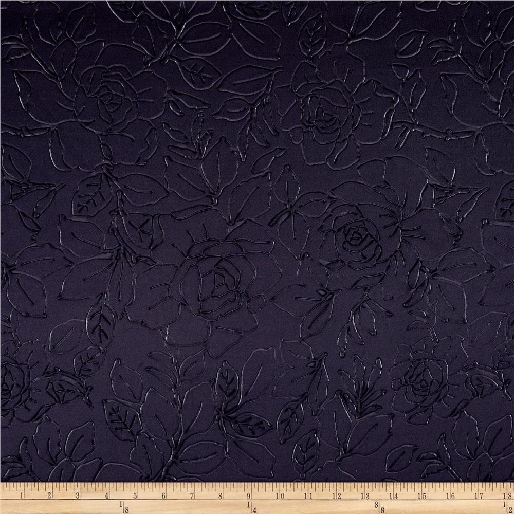 Techno Embossed Double Knit Rose Navy