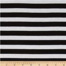 Designer Rayon Poly Jersey Knit Stripes Black/White
