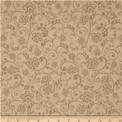 "108"" Wide Quilt Back Floral Swirl Cream"