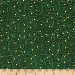 Reindeer Prance Metallic Swirls Green