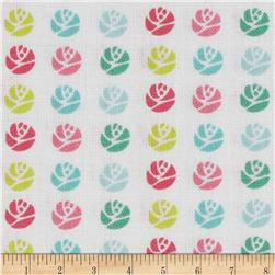 Small Geometric Roses White/Multi