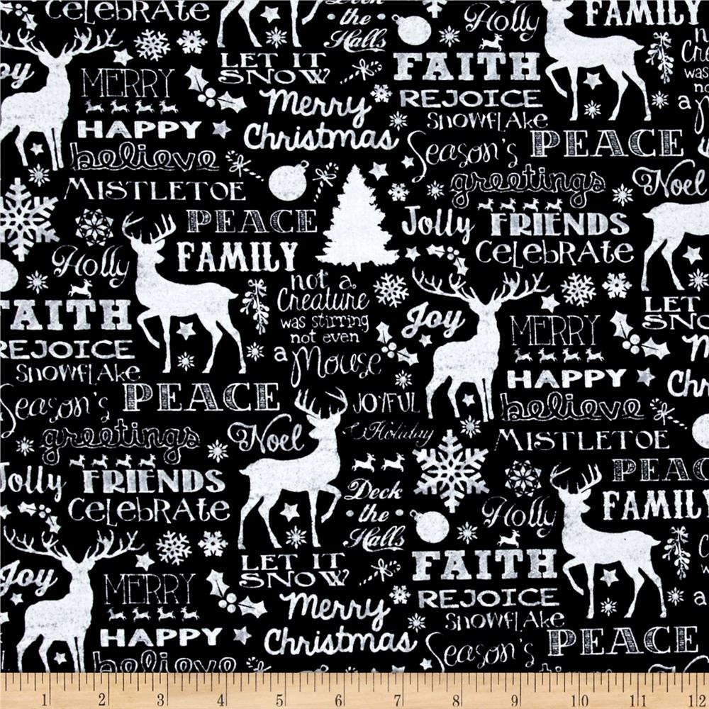 Timeless Treasures Glamorous Holiday Chalkboard Christmas Words Black