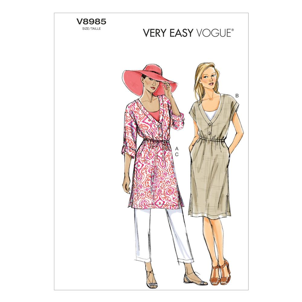 Vogue Misses' Tunic, Dress and Pants Pattern V8985 Size 0Y0