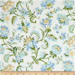 Subtle Skies Large Floral White Fabric