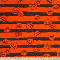Cotton Spandex Jersey Knit Pumpkin Party Halloween Orange Grey