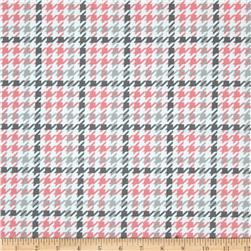 Kaufman Cozy Cotton Flannel Houndstooth Bubblegum