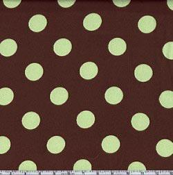 Charmeuse Satin Jumbo Dot Brown/Mint