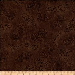 108'' Wide Essentials Quilt Backing Scroll Brown Fabric