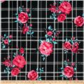 Double Brushed Poly Jersey Knit Floral Plaid Black/Pink