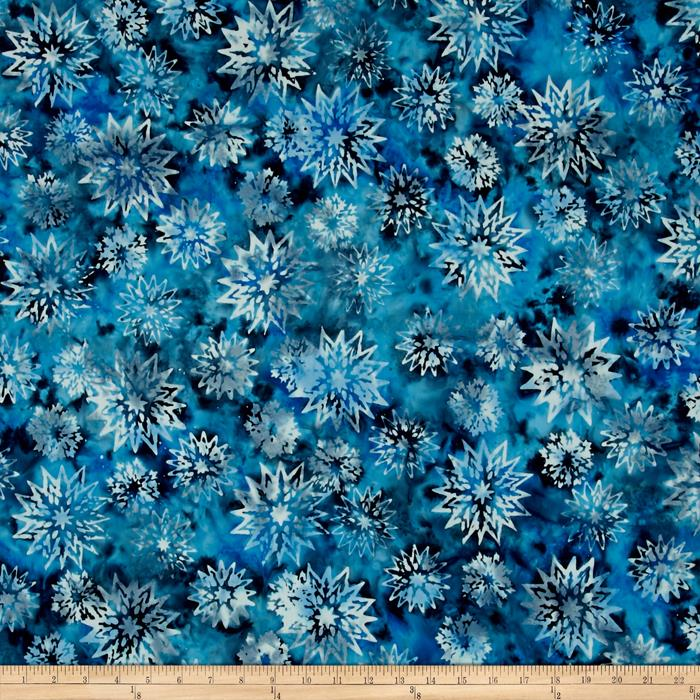 Timeless Treasures Tonga Batiks Lakeshore Snowflake Mix Azure
