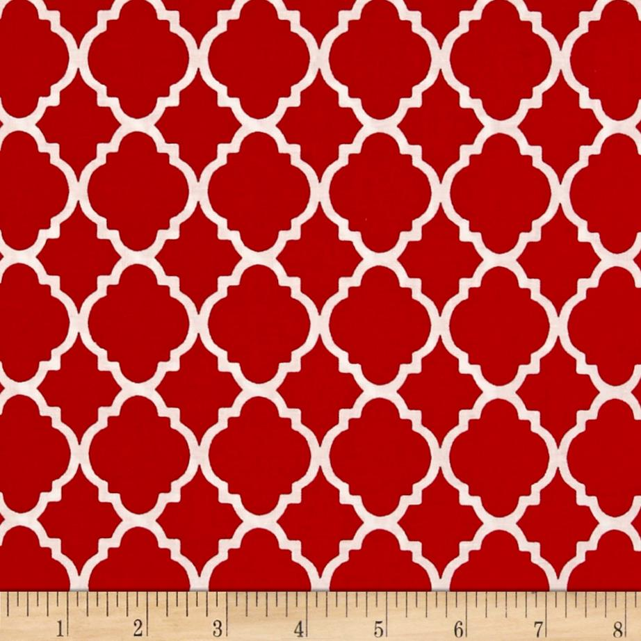 Quatrefoil Red/White Fabric