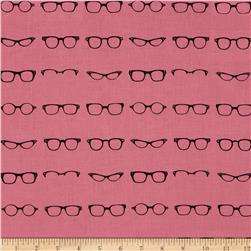 Riley Blake Geekly Chic Glasses Hot Pink