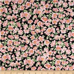 Timeless Treasures Goldfinch Garden Floral Black