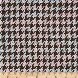 Wool Blend Boucle Coating Houndstooth Dark Brown
