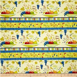 Springtime Garden Fruit Repeating Stripe Cream/Multi