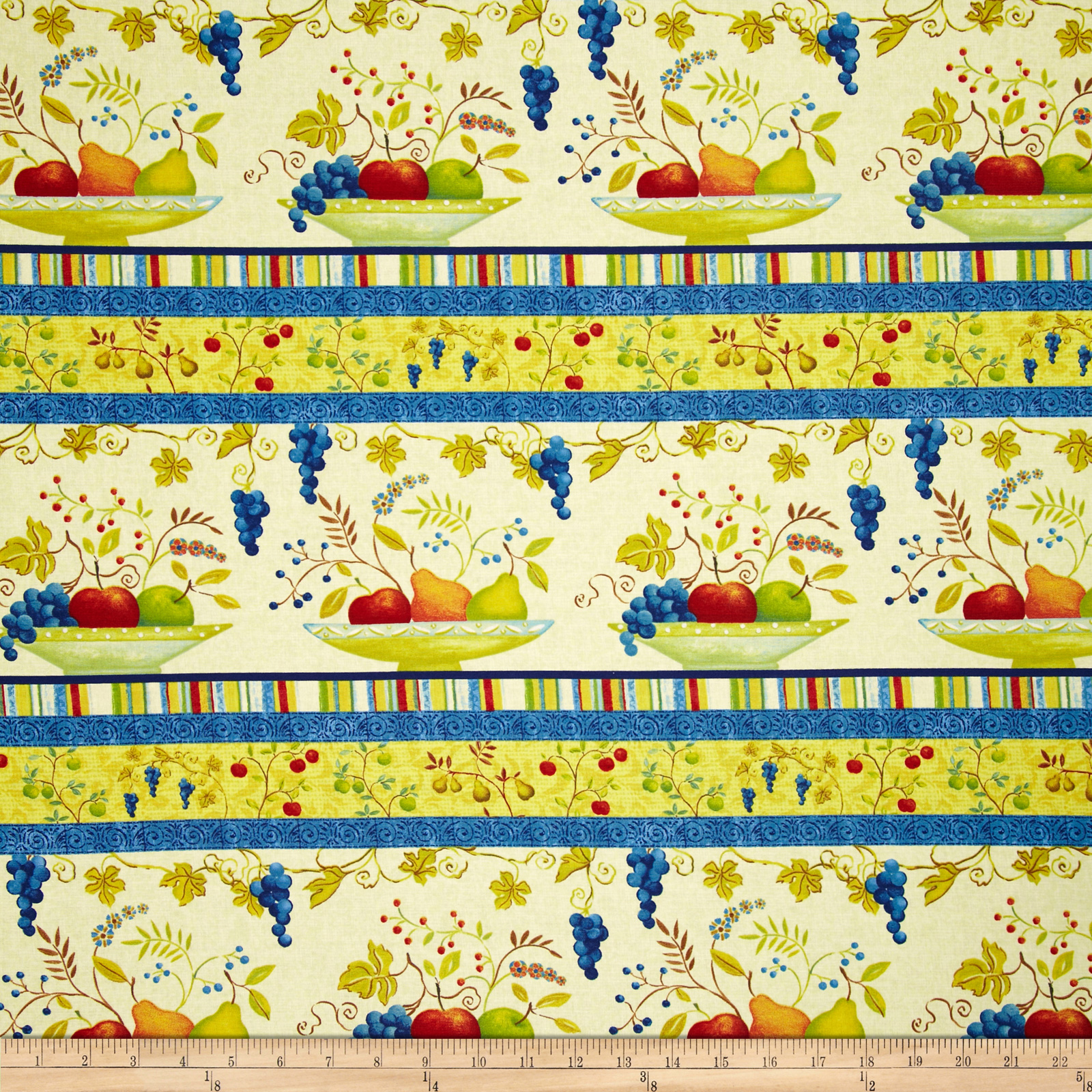 Springtime Garden Fruit Repeating Stripe Cream/Multi Fabric