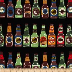 Kanvas Man Cave Beer Bottles Black Fabric