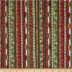 Stained Glass Christmas Stripe Scarlet/Gold