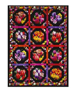 "Tulips Digital Print Garden 35"" Panel Black"