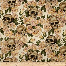 Resting in Roses Skulls & Roses Natural Fabric
